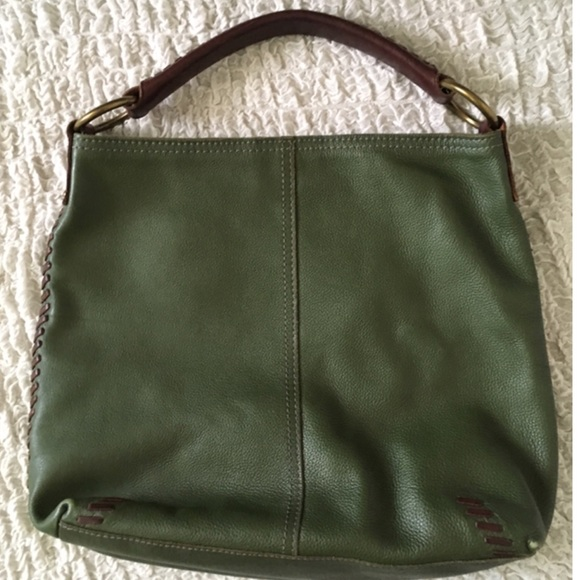 Lucky Brand Handbags - Lucky brand Forest green & brown leather bag